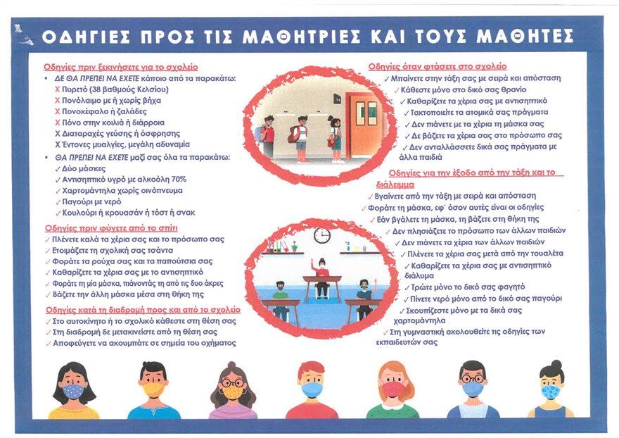 Οδηγίες προς τις μαθήτριες και τους μαθητές